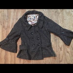 Black gold double breast lady jacket size small